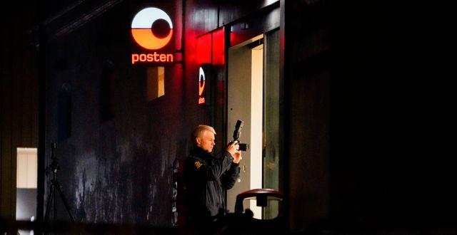 Polisen under insatsen i går. Torstein Bøe / TT NYHETSBYRÅN