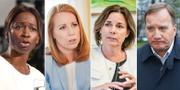 Nyamko Sabuni (L), Annie Lööf (C), Isabella Lövin (MP) och Stefan Löfven (S). De fyra partierna utgör januariöverenskommelsen som format regeringens politik.  TT