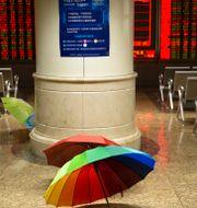 Paraplyer i ett mäklarhus för aktier i Peking på tisdagen.  Mark Schiefelbein / TT NYHETSBYRÅN