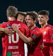 HIF-spelarna firar. Björn Larsson Rosvall/TT / TT NYHETSBYRÅN