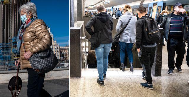 Bilder från Madrid och Stockholm. TT