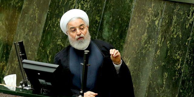 Irans president Hassan Rouhani talar inför parlamentet. ATTA KENARE / AFP