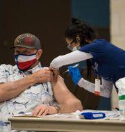 Vaccinering med Modernas vaccin i Texas. Mikala Compton / TT NYHETSBYRÅN