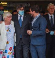 Carles Puigdemont lämnar domstolen i Sassari, Sardinien Gloria Calvi / TT NYHETSBYRÅN