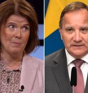 Ewa Stenberg, Stefan Löfven, Mats Knutson.  TT.
