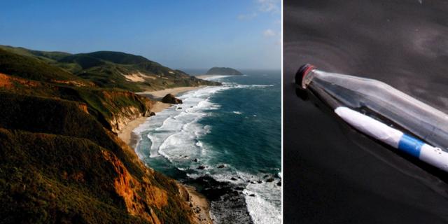 """Big Sur i Kalifornien och en bild på en annan flaskpost. Familjens flaska var grön med ordet """"Hjälp"""" inkarvat i plasten. TT"""