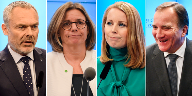 Jan Björklund (L), Isabella Lövin (MP), Annie Lööf (C) och Stefan Löfven (S). TT