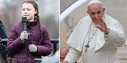 Greta Thunberg och påve Franciskus. TT
