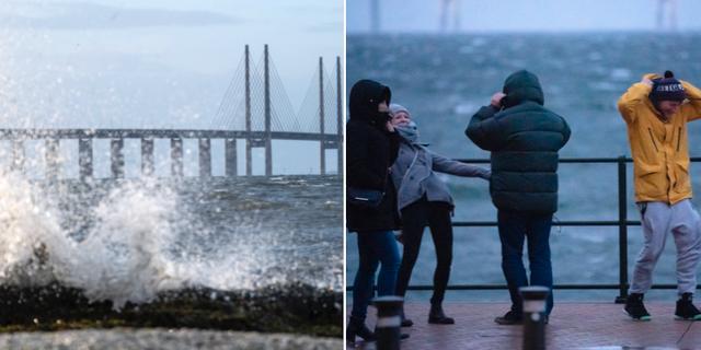 Kraftiga vindar vid Öresundsbrons kust. TT