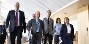 Daniel Bäckström (C), Mikael Oscarsson (KD), Allan Widman (M), Karin Enström (M), Beatrice Ask (M), meddelade under en pressträff att de lämnar försvarsberedningen.  Naina Helèn Jåma/TT / TT NYHETSBYRÅN