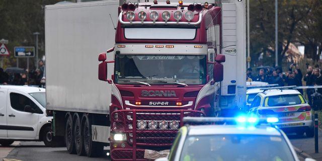 Lastbilen som de 39 människorna hittades döda i. BEN STANSALL / AFP