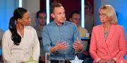 Alice Bah Kuhnke (MP) Tomas Tobé (M) och Heléne Fritzon (S) i samband med debatten. Anders Wiklund/TT / TT NYHETSBYRÅN