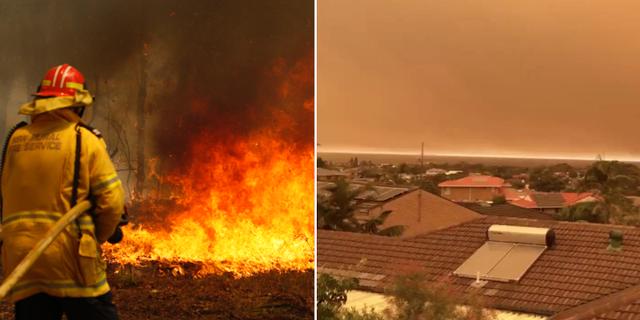 Bränder bekämpas/Orange himmel i Australien. TT