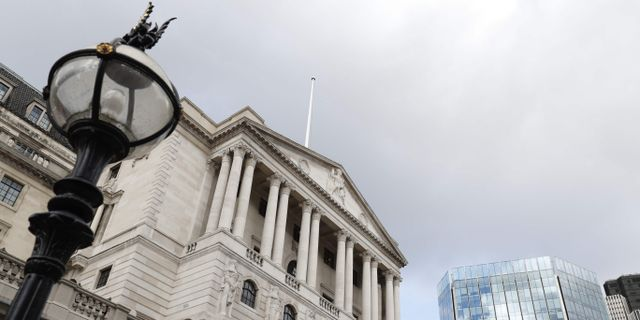 Arkivbild: Bank of England-byggnaden i London.  ADRIAN DENNIS / AFP