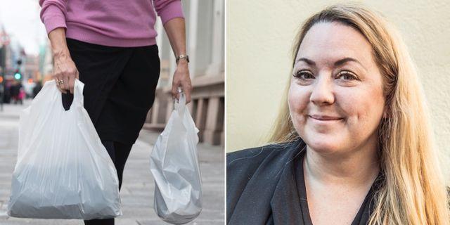 Rebecca Weidmo Uvell förespråkar fler plastpåsar och färre ekologiska tygkassar. TT