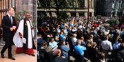 Prins Harry och hundratals i Manchester för att hålla en tyst minut för offren. TT