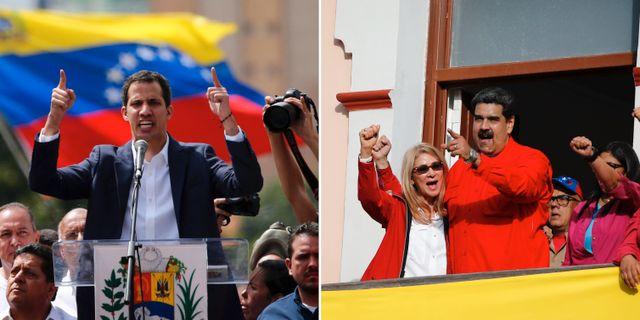 Juan Guaidó och Nicolás Maduro under gårdagens demonstrantioner. TT