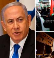 Benjamin Netanyahu (t v), Mahmoud Abbas (t h). I mitten: Hamas-medlemmar under protest i Gaza City (ovan), protest mot Netanyahu i Jerusalem (nedan). TT