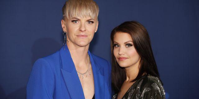 Nilla Fischer och hennes fru Maria Michaela Fischer anländer till fotbollsgalan på Hovet.  Christine Olsson/TT / TT NYHETSBYRÅN