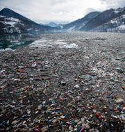 Stora mängder skräp i en sjö i Serbien/Arkivbild.  Darko Vojinovic / TT NYHETSBYRÅN