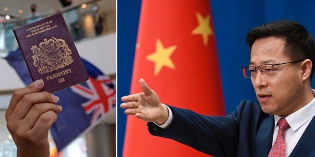 Ett särskilt brittiskt pass framför en äldre version av Hongkongs flagga/Zhao Lijian, talesperson för det kinesiska utrikesdepartementet TT