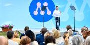 Moderaternas partiledare Ulf Kristersson talar i Almedalen 2019.  Henrik Montgomery/TT / TT NYHETSBYRÅN