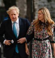 Boris Johnson och fästmön Carrie Symonds/Arkivbild Matt Dunham / TT NYHETSBYRÅN