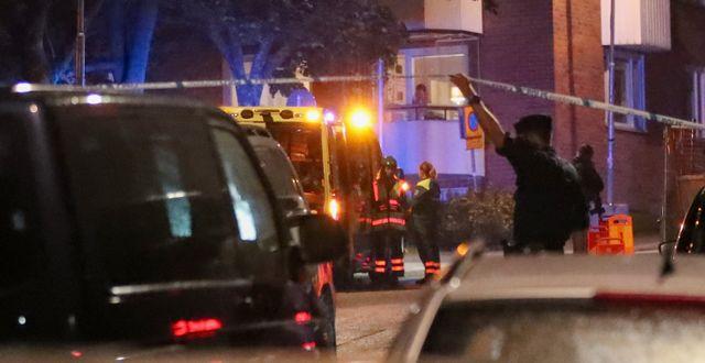 Polisen ryckte ut med en stor styrka. Claus Meyer/TT / TT NYHETSBYRÅN
