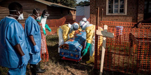 En kista som använts vid ett obekräftat Ebolafall desinficeras av hälsoarbetare.  JOHN WESSELS / AFP