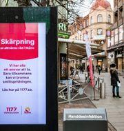 Information om smittan i Helsingborg. Johan Nilsson/TT / TT NYHETSBYRÅN