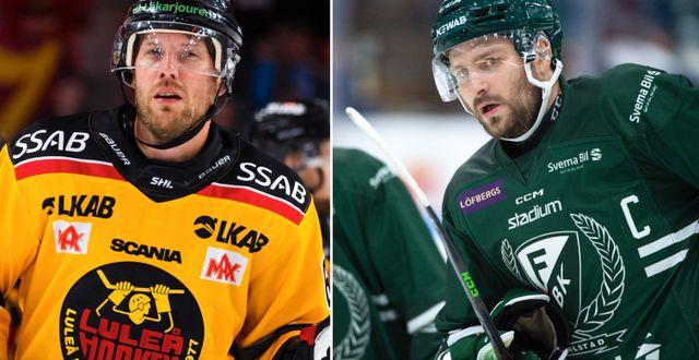 Luleås Linus Omark och Färjestads Mikael Wikstrand. Bildbyrån