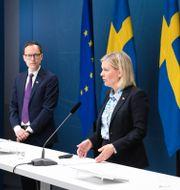 Arkivbild: Per Bolund (MP), Mats Persson (L), Magdalena Andersson (S) och Emil Källström (C).  Fredrik Sandberg/TT / TT NYHETSBYRÅN