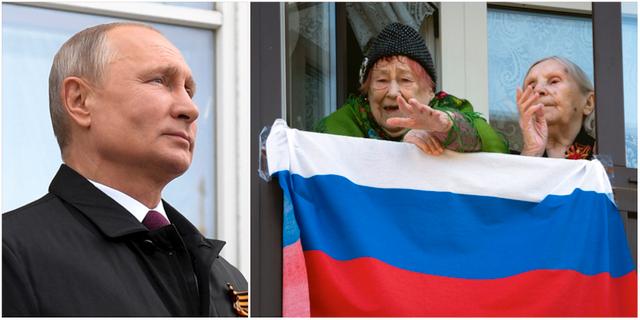 Vladimir Putin/Kvinnor firar segerdagen 9 maj under pandemin.  TT
