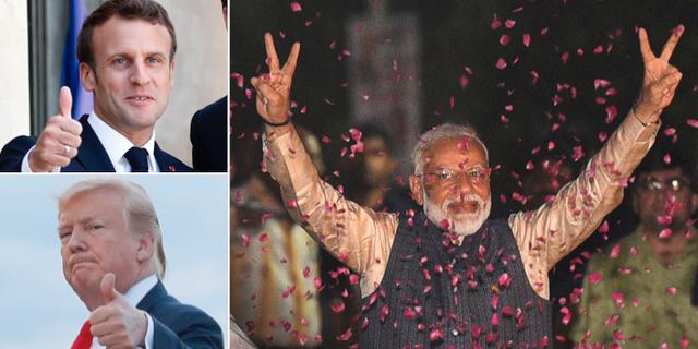 Emmanuel Macron, Donald Trump och Narendra Modi. TT
