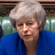 Theresa May under en debatt på onsdagen.  HO / PRU