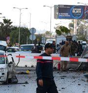 Attacken skedde utanför USA:s ambassad.  FETHI BELAID / TT NYHETSBYRÅN