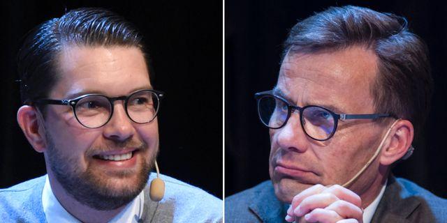 Sverigedemokraternas partiledare Jimmie Åkesson och Moderaternas ledare Ulf Kristersson under Landsbygdsriksdagen i Örnsköldsvik.  TT
