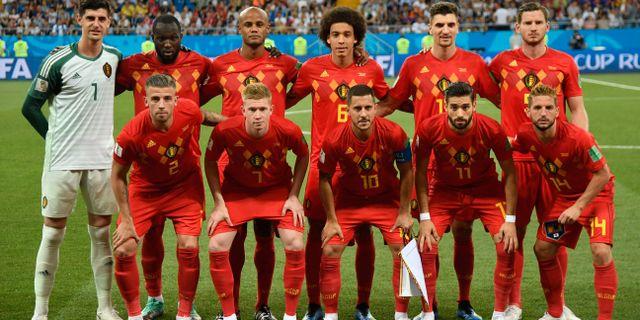 Den belgiska startelvan mot Brasilien. FILIPPO MONTEFORTE / AFP