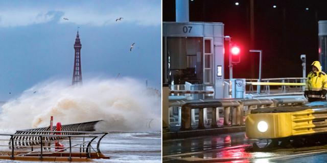 Stormen Ciara slog till förra helgen. Till vänster: Vind och hårt regn i Blackpool, England. Till höger: Öresunds bron under stormen.  TT
