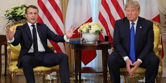 Macron och Trump idag. LUDOVIC MARIN / AFP