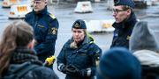 Kustbevaktningen på en pressträff i Trelleborgs hamn, om arbetet mot gränsöverskridande brottslighet. Johan Nilsson/TT / TT NYHETSBYRÅN