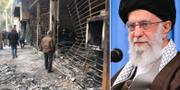 En nedbrunnen bank/Ali Khamenei. TT