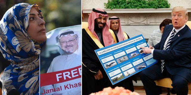 Khashoggis fästmö/Mohammed bin Salman och Donald Trump presenterar vapenavtal i Vita huset. TT