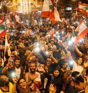 Demonstranter i Tripoli i Libanon. GORAN TOMASEVIC / TT NYHETSBYRÅN