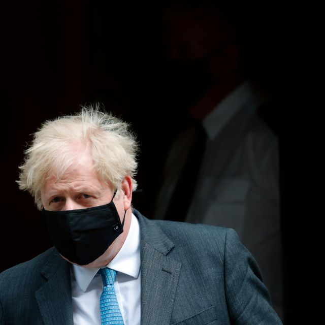 Britain's Prime Minister Boris Johnson leaves 10 Downing Street to attend the weekly Prime Minister's' Questions session in parliament in London, Wednesday, April 28, 2021. Frank Augstein / TT NYHETSBYRÅN