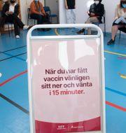 Över 500 personer per dag vaccineras nu i en gymnastiksal i Rinkeby som förvandlats till vaccinationscentral under pandemin. Fredrik Sandberg/TT / TT NYHETSBYRÅN