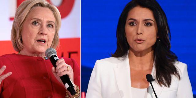 Hillary Clinton och Tulsi Gabbard. TT