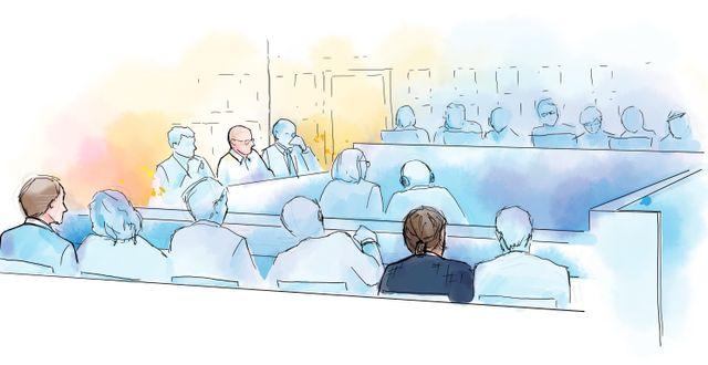 Teckning från rättegången. Mark Bishop i mitten och Mark Serwin till höger Petra Frid/TT / TT NYHETSBYRÅN
