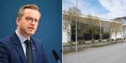 Inrikesminister Mikael Damberg och polisutbildningens lokaler på Södertörns högskola i Stockholm.  TT