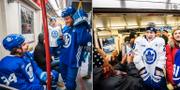 Storstjärnan Auston Matthews hittade en sittplats medan Travis Dermott tog bilder med människorna i vagnen. Toronto Maple Leafs